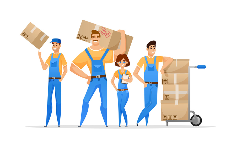 a graphic of movers and boxes