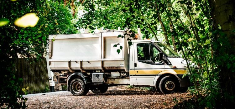 A moving truck parked under a tree