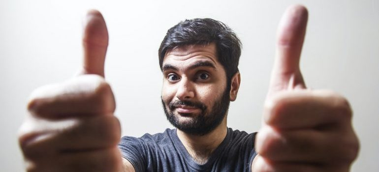 A person showing thumbs up