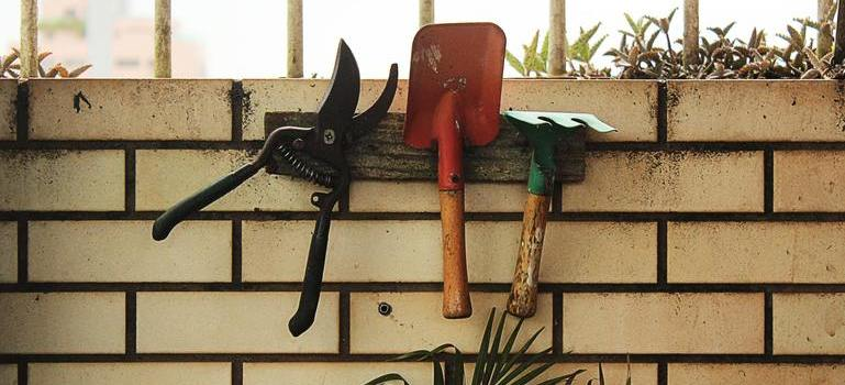 garden tools on the wall