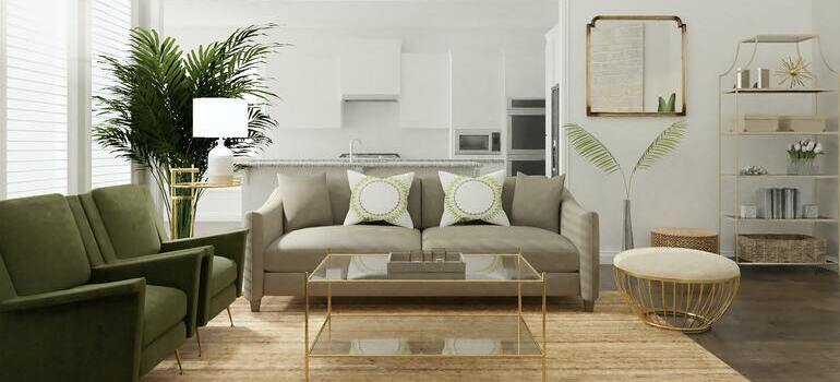 green sofa in the living room