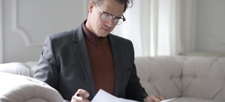 A man reading some documentation