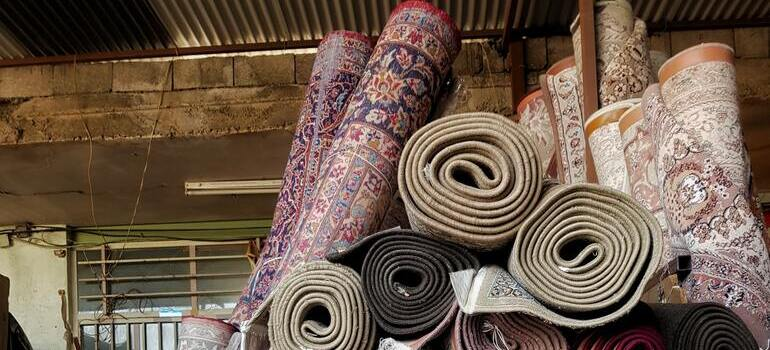 rolled carpets in the garage