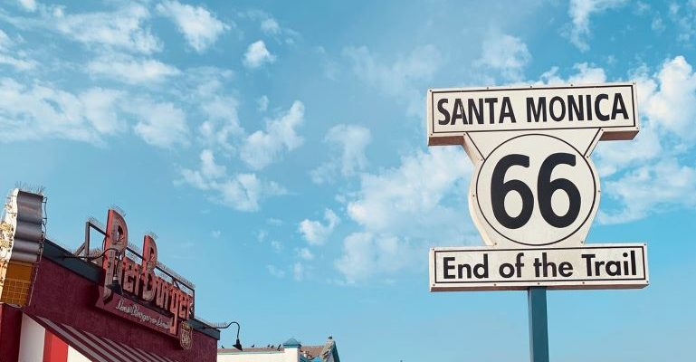 The Santa Monica route 66 sign at the pier.