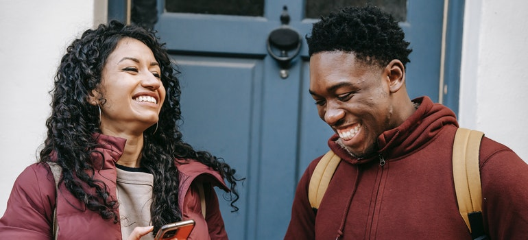 a couple laughing